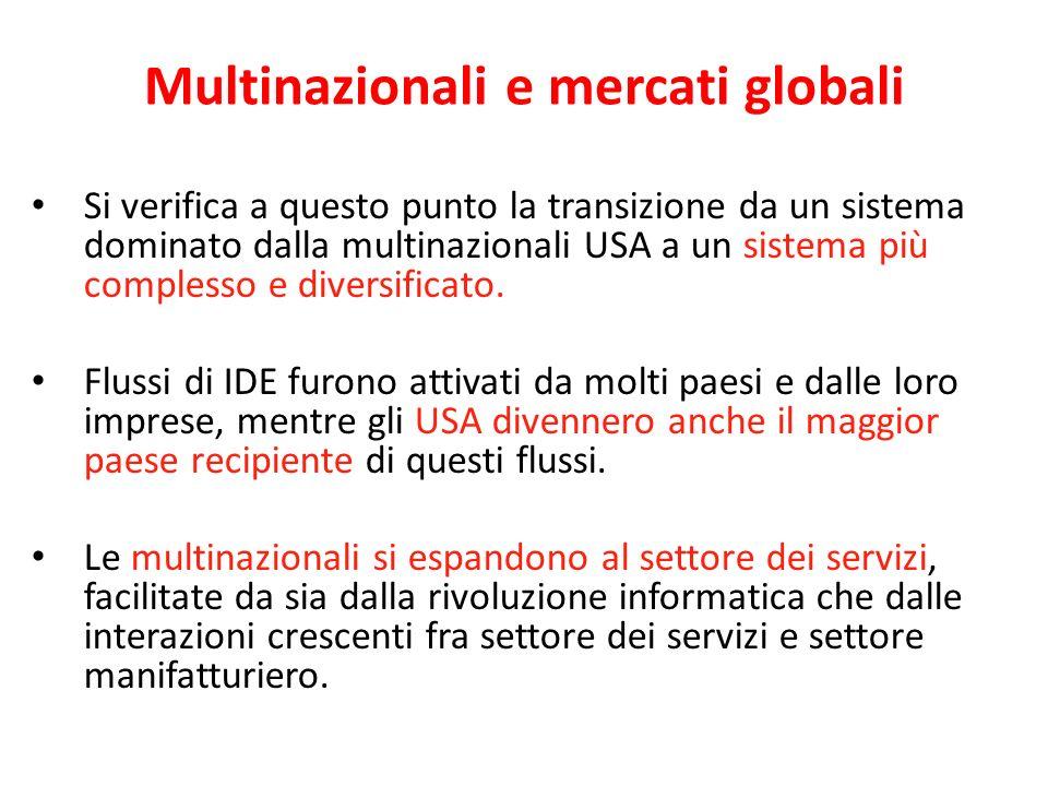 Multinazionali e mercati globali Si verifica a questo punto la transizione da un sistema dominato dalla multinazionali USA a un sistema più complesso