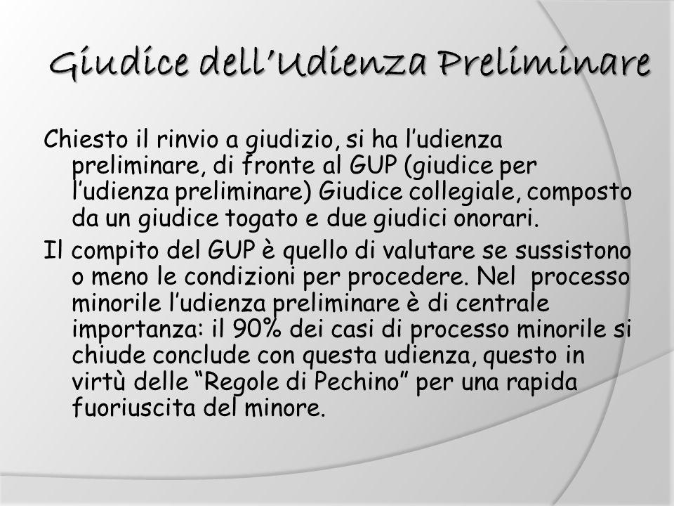 Giudice dellUdienza Preliminare Chiesto il rinvio a giudizio, si ha ludienza preliminare, di fronte al GUP (giudice per ludienza preliminare) Giudice