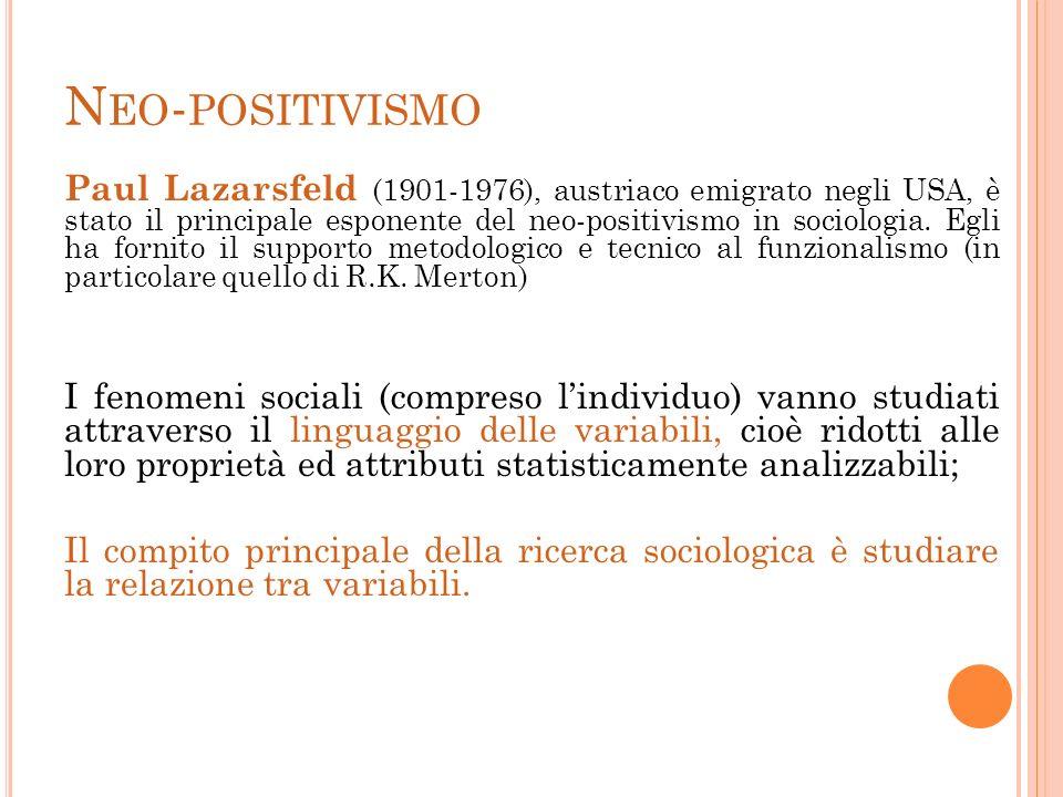 N EO - POSITIVISMO Paul Lazarsfeld (1901-1976), austriaco emigrato negli USA, è stato il principale esponente del neo-positivismo in sociologia. Egli