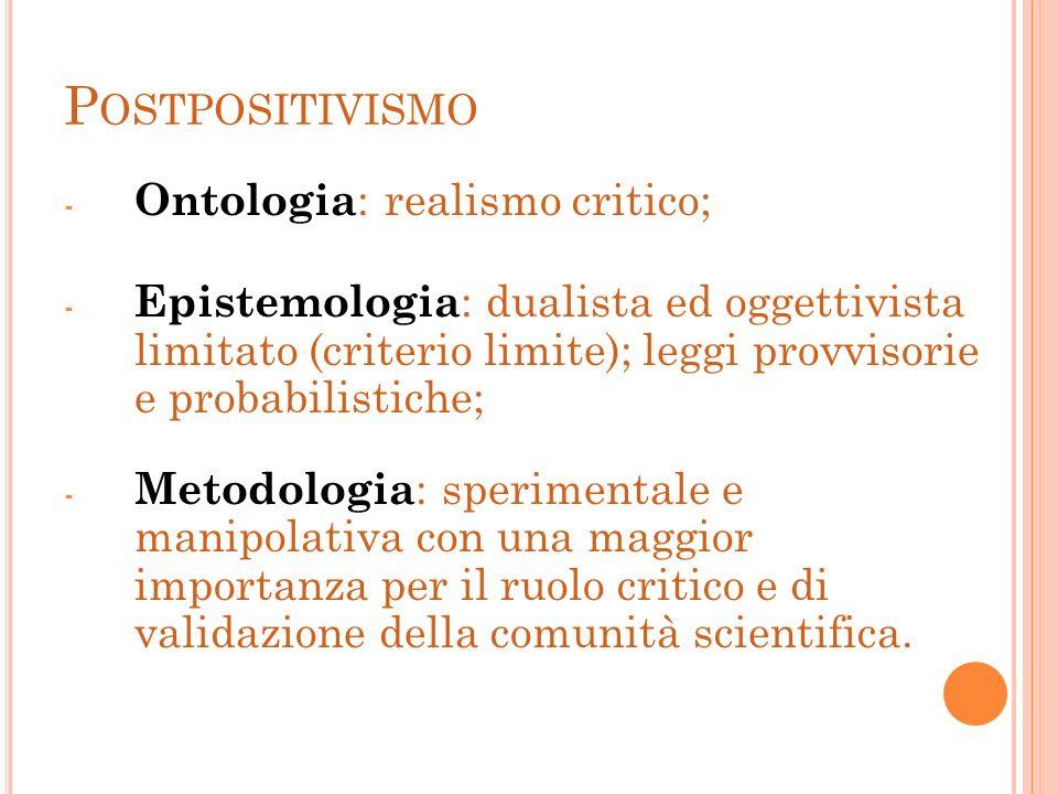 P OSTPOSITIVISMO - Ontologia : realismo critico; - Epistemologia : dualista ed oggettivista limitato (criterio limite); leggi provvisorie e probabilis