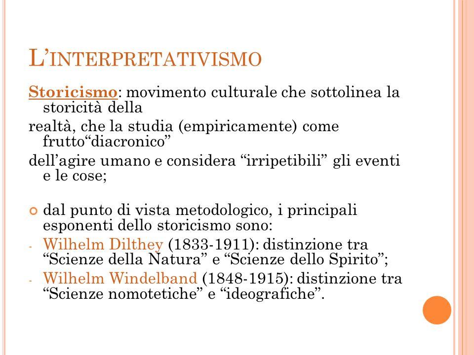 L INTERPRETATIVISMO Storicismo : movimento culturale che sottolinea la storicità della realtà, che la studia (empiricamente) come fruttodiacronico del