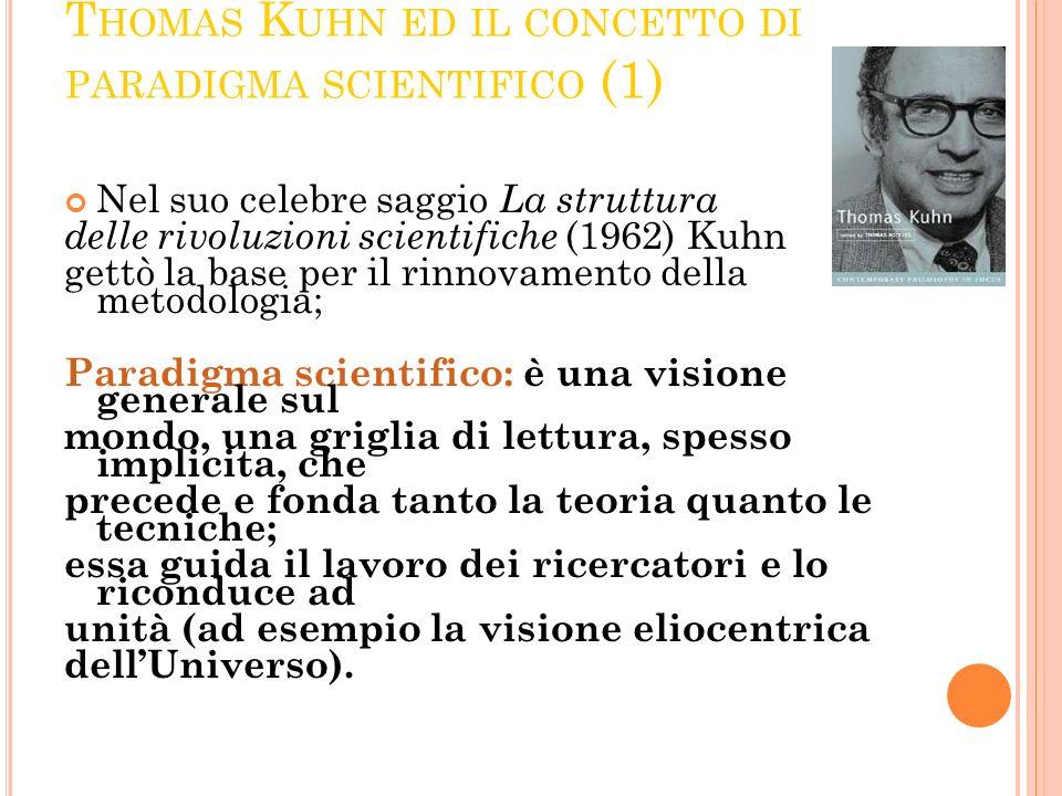T HOMAS K UHN ED IL CONCETTO DI PARADIGMA SCIENTIFICO (1) Nel suo celebre saggio La struttura delle rivoluzioni scientifiche (1962) Kuhn gettò la base