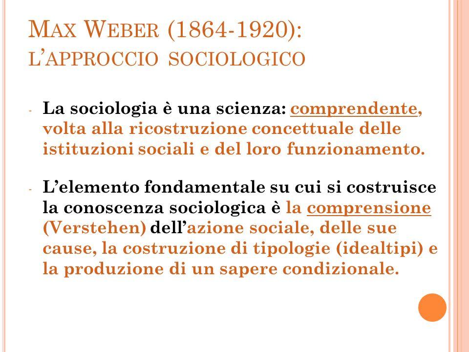 M AX W EBER (1864-1920): L APPROCCIO SOCIOLOGICO - La sociologia è una scienza: comprendente, volta alla ricostruzione concettuale delle istituzioni s
