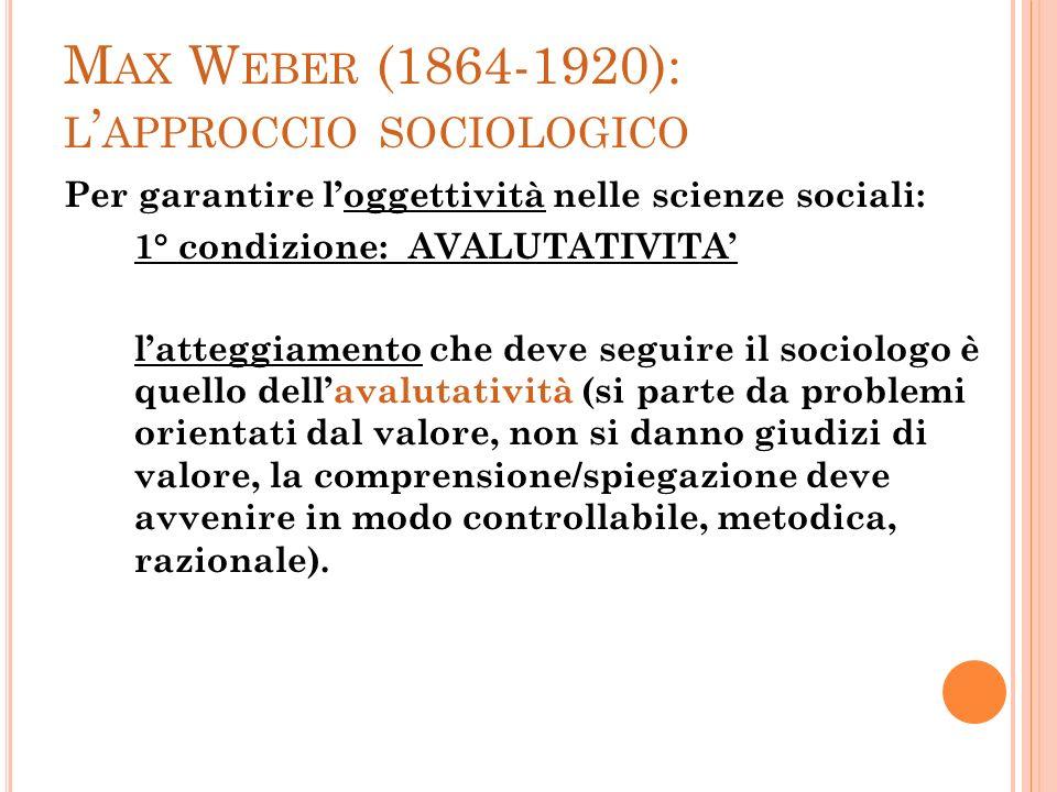 M AX W EBER (1864-1920): L APPROCCIO SOCIOLOGICO Per garantire loggettività nelle scienze sociali: 1° condizione: AVALUTATIVITA latteggiamento che dev
