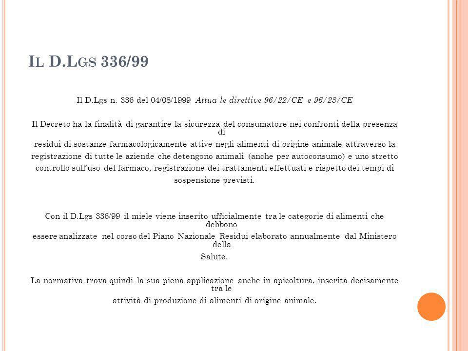 I L D.L GS 336/99 Il D.Lgs n. 336 del 04/08/1999 Attua le direttive 96/22/CE e 96/23/CE Il Decreto ha la finalità di garantire la sicurezza del consum
