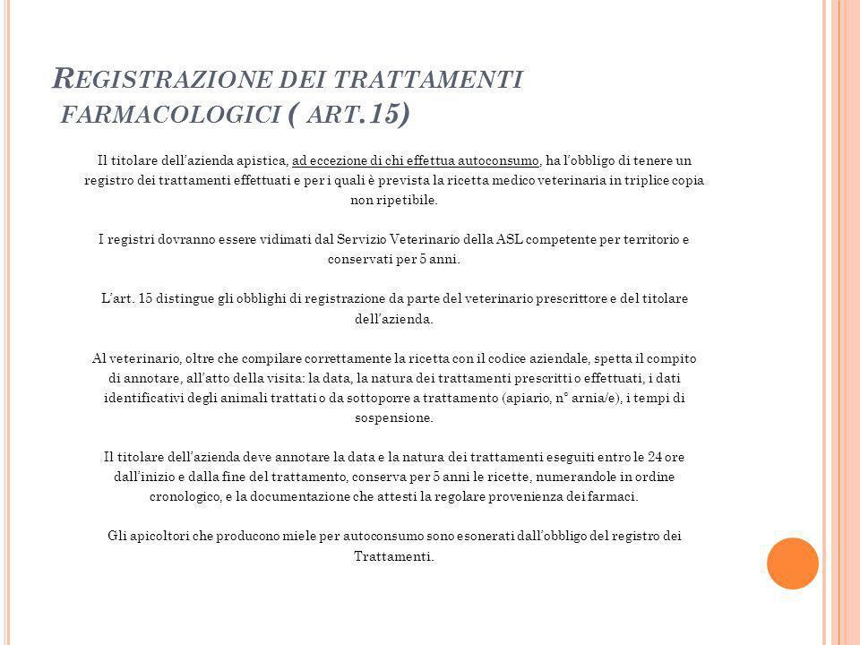 R EGISTRAZIONE DEI TRATTAMENTI FARMACOLOGICI ( ART.15) Il titolare dellazienda apistica, ad eccezione di chi effettua autoconsumo, ha lobbligo di tene