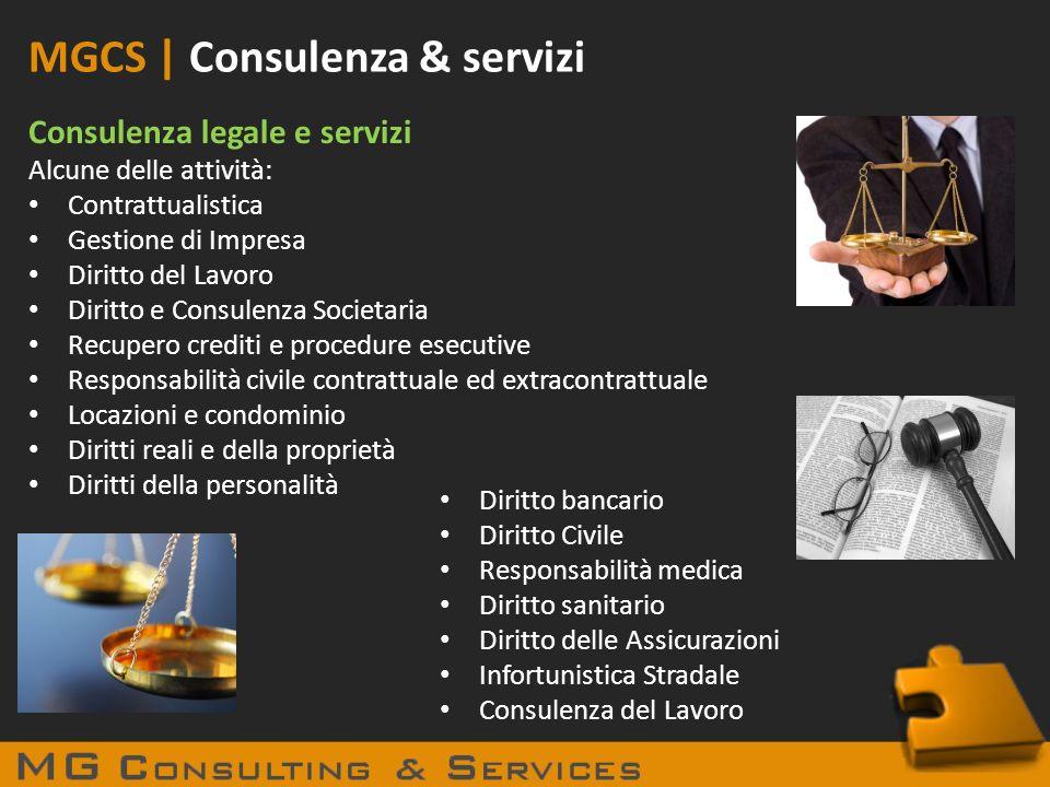 MGCS | Consulenza & servizi Consulenza legale e servizi Alcune delle attività: Contrattualistica Gestione di Impresa Diritto del Lavoro Diritto e Cons