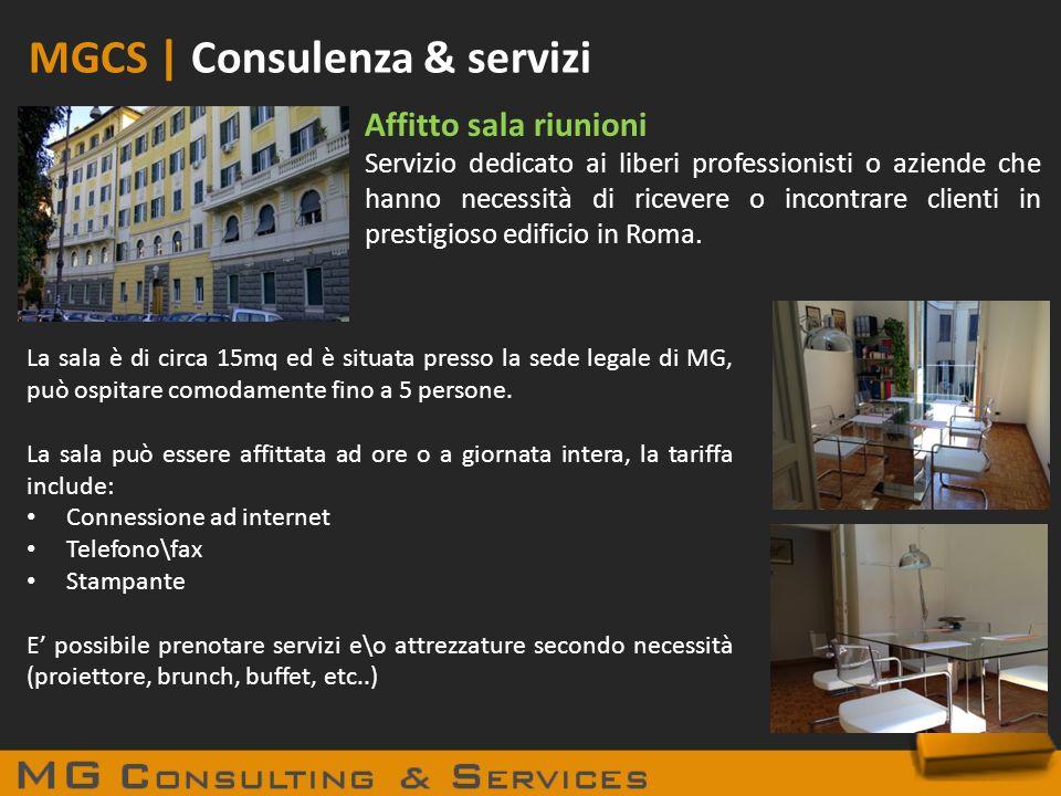 MGCS | Consulenza & servizi Affitto sala riunioni Servizio dedicato ai liberi professionisti o aziende che hanno necessità di ricevere o incontrare cl