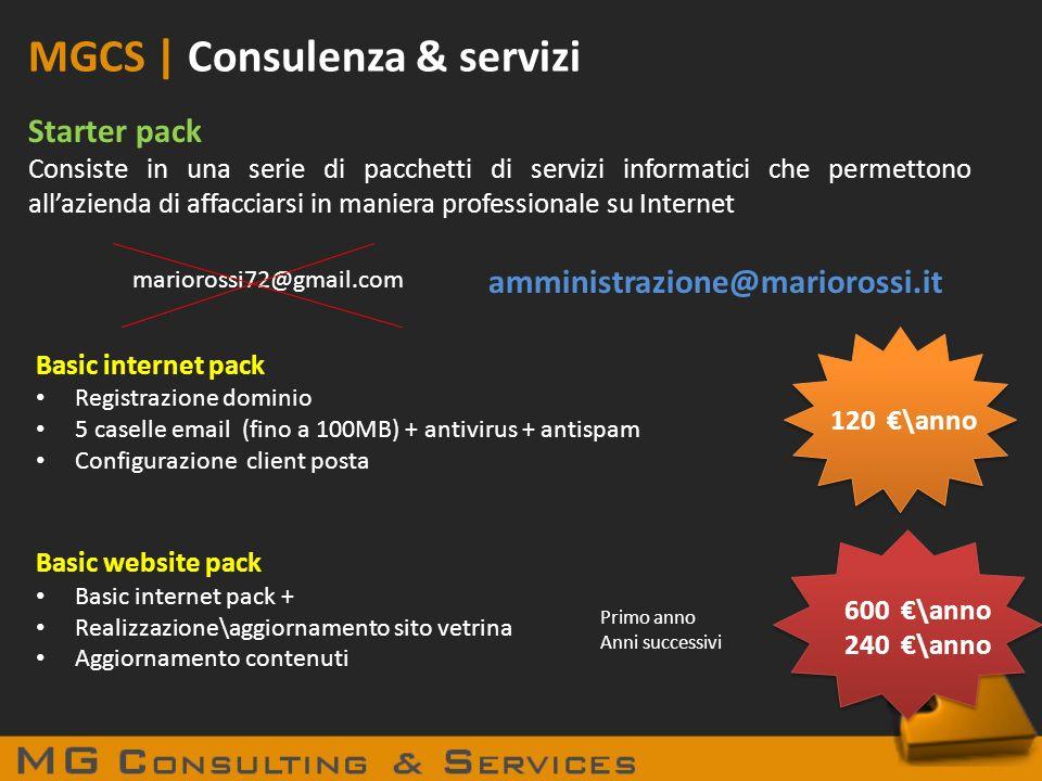 MGCS | Consulenza & servizi Starter pack Consiste in una serie di pacchetti di servizi informatici che permettono allazienda di affacciarsi in maniera