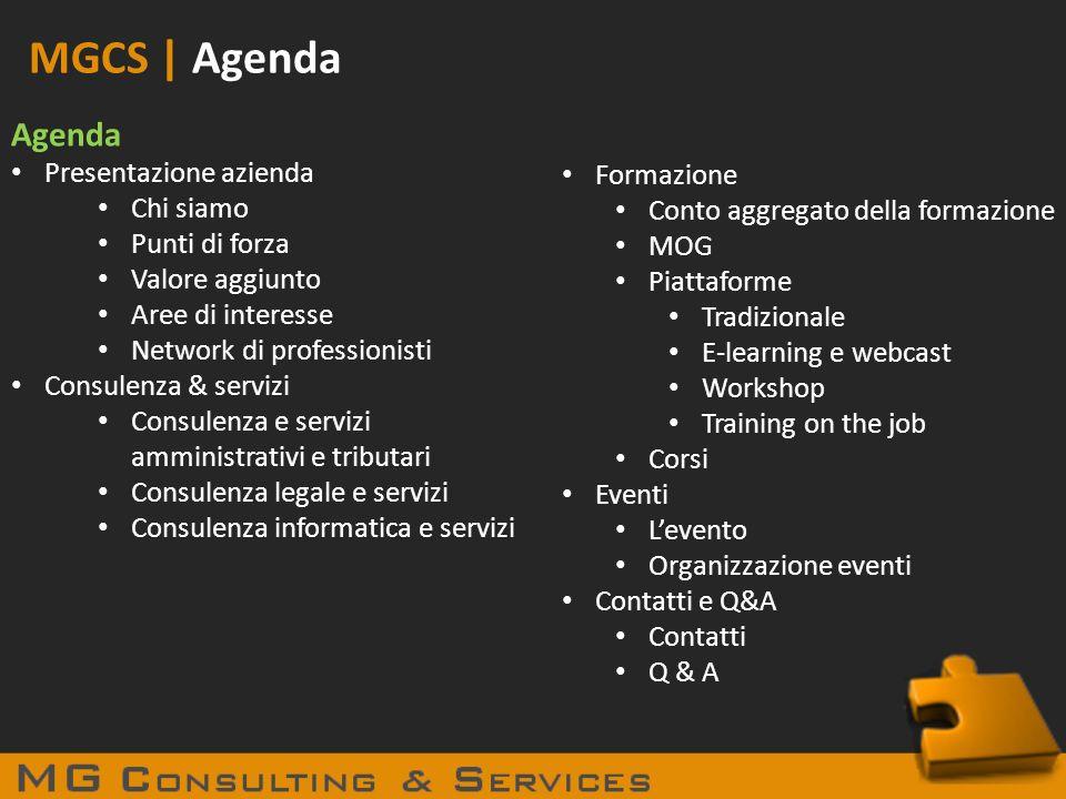 MGCS | Agenda Agenda Presentazione azienda Chi siamo Punti di forza Valore aggiunto Aree di interesse Network di professionisti Consulenza & servizi C