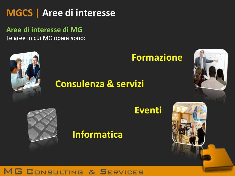 MGCS | Aree di interesse Aree di interesse di MG Le aree in cui MG opera sono: Consulenza & servizi Formazione Informatica Eventi