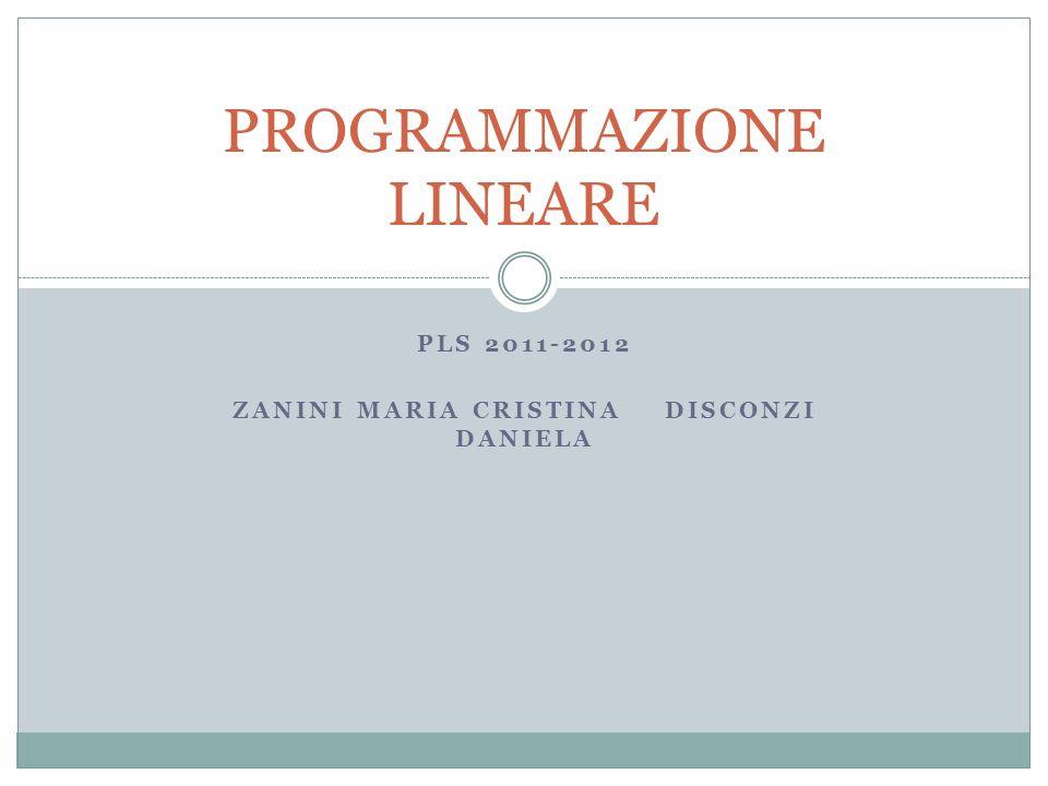 PLS 2011-2012 ZANINI MARIA CRISTINA DISCONZI DANIELA PROGRAMMAZIONE LINEARE