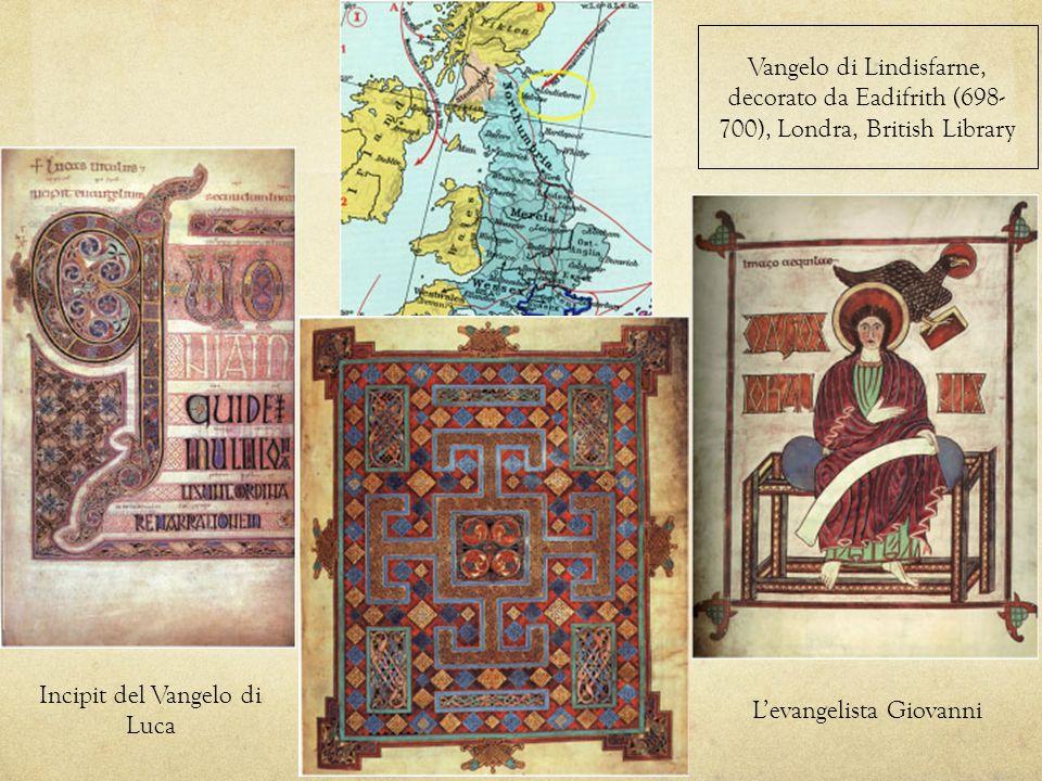 Vangelo di Lindisfarne, decorato da Eadifrith (698- 700), Londra, British Library Incipit del Vangelo di Luca Levangelista Giovanni