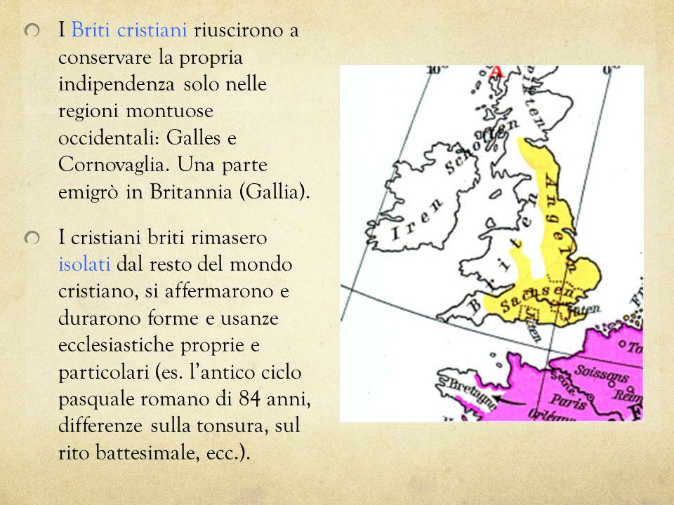 I Briti cristiani riuscirono a conservare la propria indipendenza solo nelle regioni montuose occidentali: Galles e Cornovaglia. Una parte emigrò in B