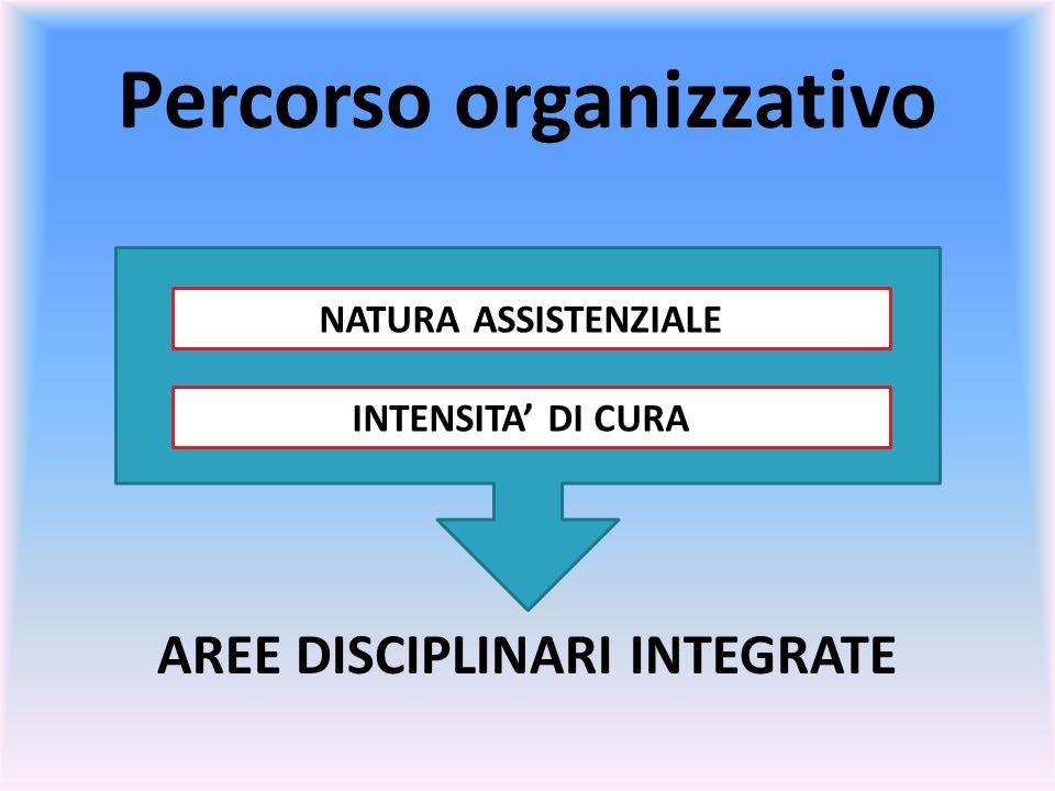 Percorso organizzativo AREE DISCIPLINARI INTEGRATE NATURA ASSISTENZIALE INTENSITA DI CURA