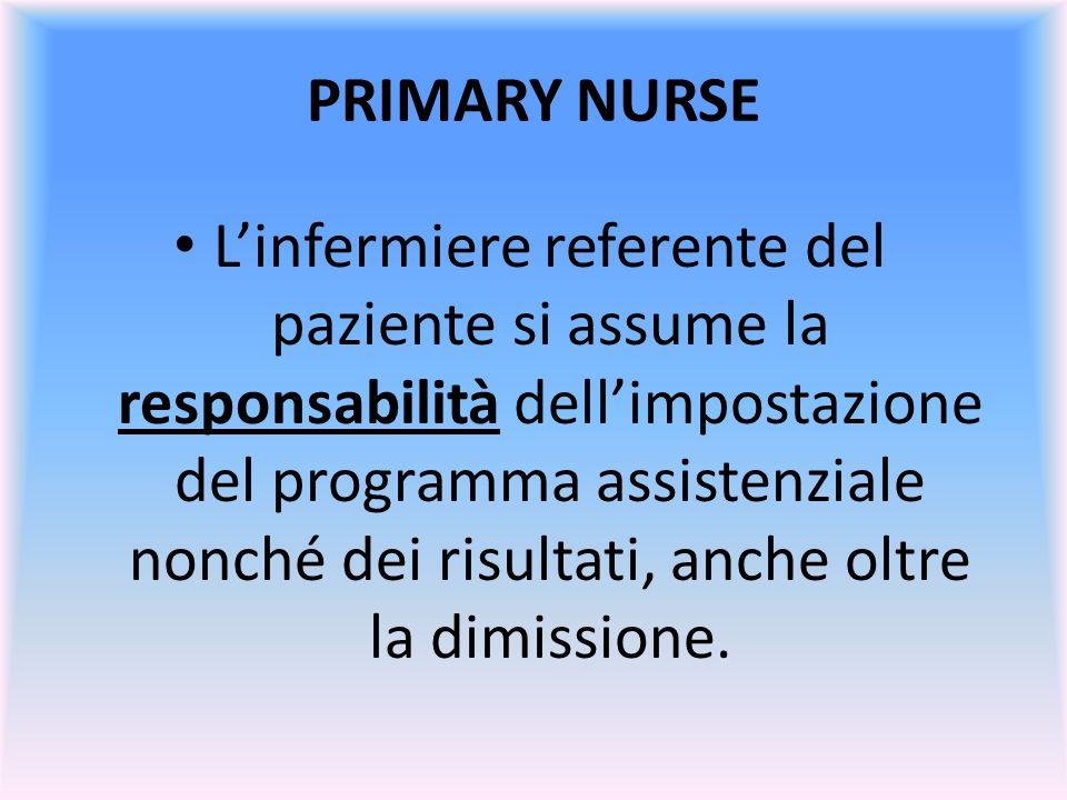 PRIMARY NURSE Linfermiere referente del paziente si assume la responsabilità dellimpostazione del programma assistenziale nonché dei risultati, anche