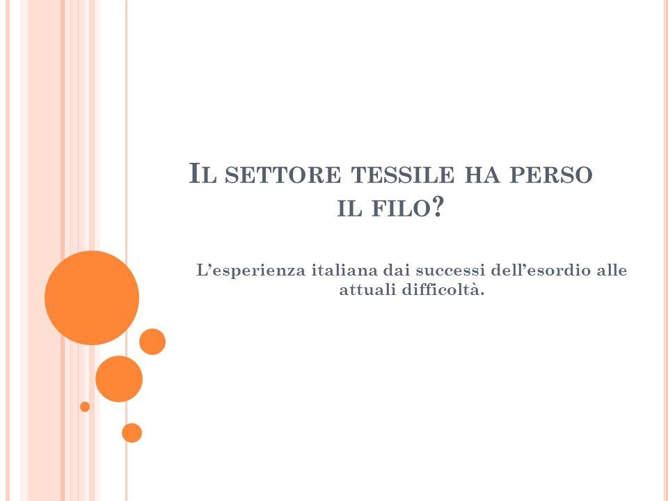 I L SETTORE TESSILE HA PERSO IL FILO .