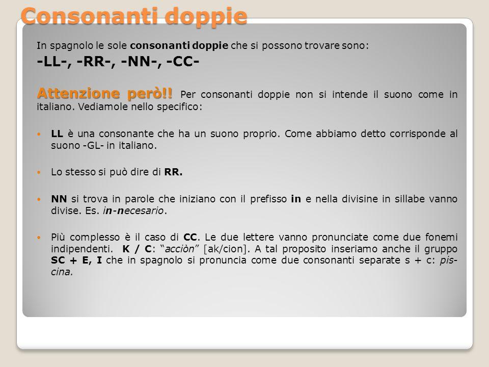 Consonanti doppie In spagnolo le sole consonanti doppie che si possono trovare sono: -LL-, -RR-, -NN-, -CC- Attenzione però!! Attenzione però!! Per co