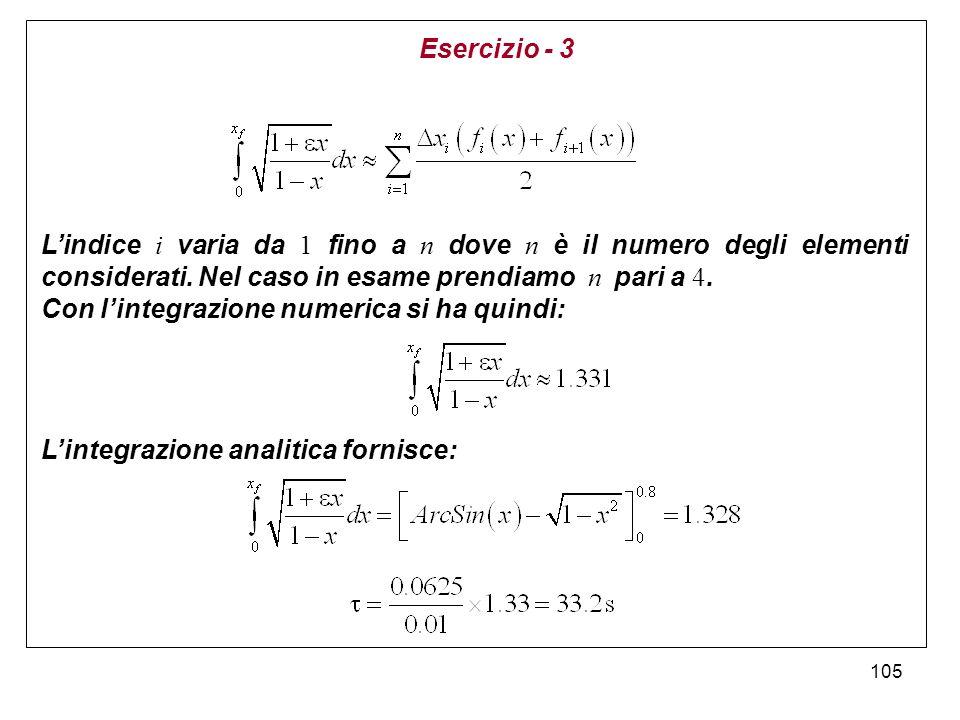 105 Lindice i varia da 1 fino a n dove n è il numero degli elementi considerati. Nel caso in esame prendiamo n pari a 4. Con lintegrazione numerica si