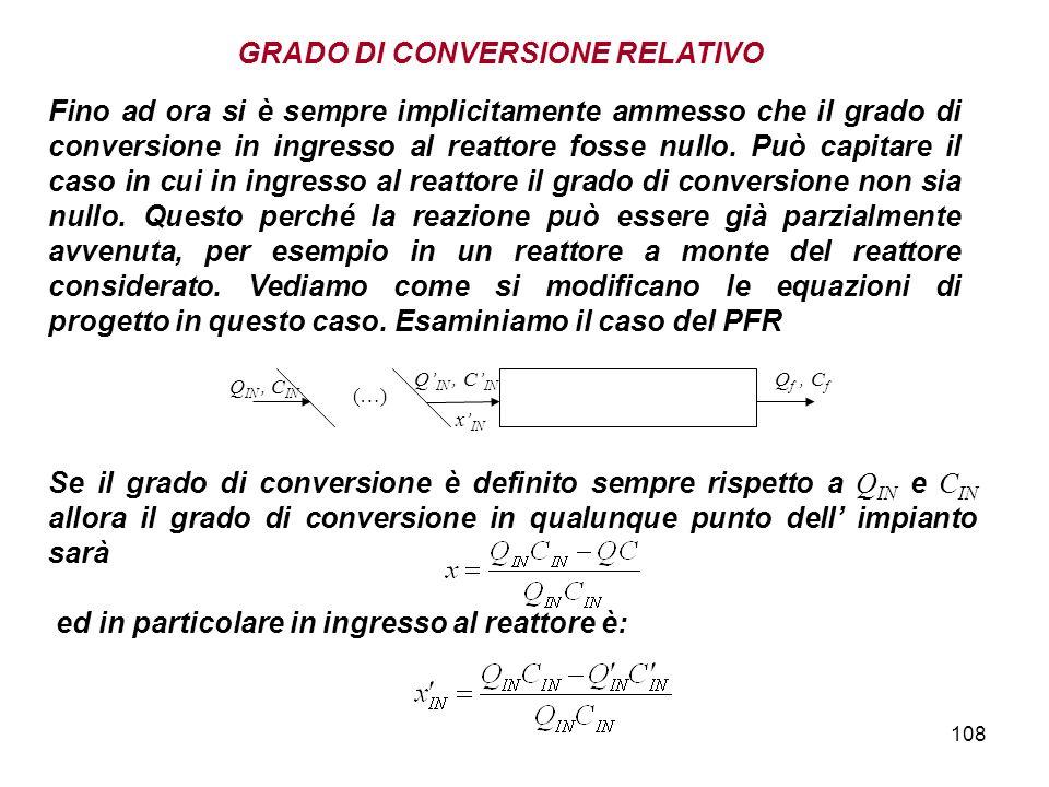 108 Fino ad ora si è sempre implicitamente ammesso che il grado di conversione in ingresso al reattore fosse nullo. Può capitare il caso in cui in ing