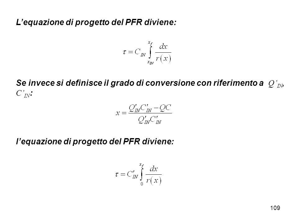 109 Lequazione di progetto del PFR diviene: Se invece si definisce il grado di conversione con riferimento a Q IN, C IN : lequazione di progetto del PFR diviene: