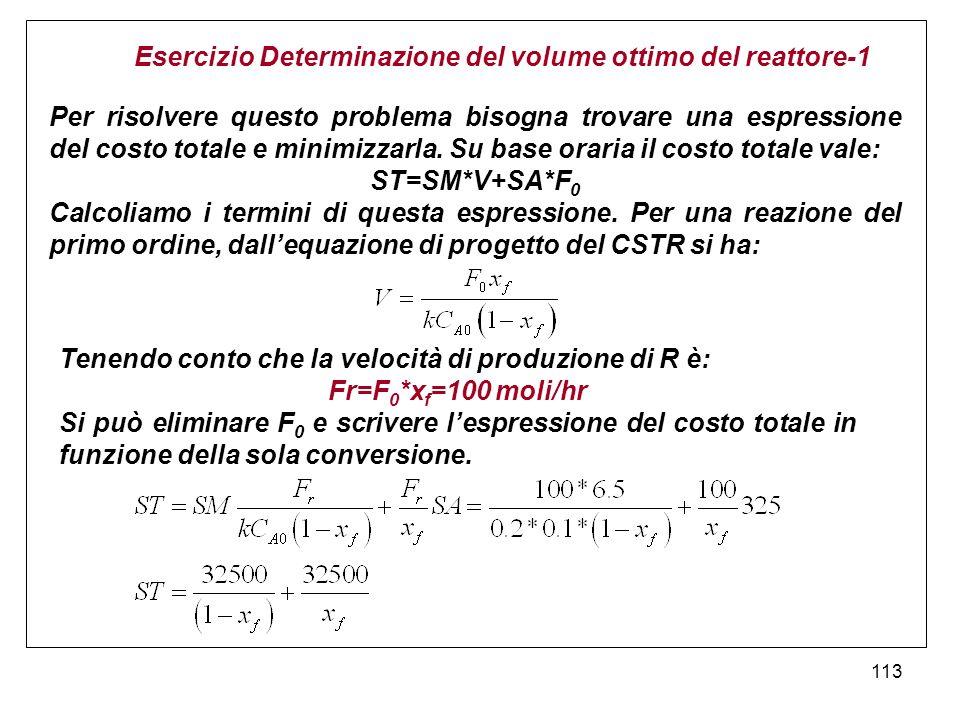 113 Esercizio Determinazione del volume ottimo del reattore-1 Per risolvere questo problema bisogna trovare una espressione del costo totale e minimizzarla.