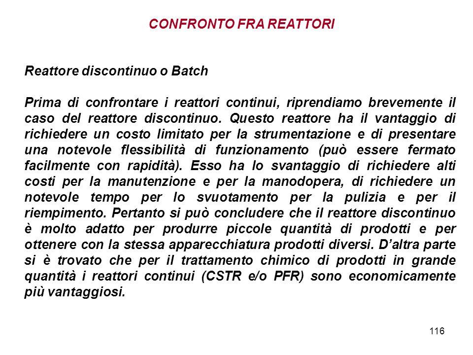 116 Reattore discontinuo o Batch Prima di confrontare i reattori continui, riprendiamo brevemente il caso del reattore discontinuo.