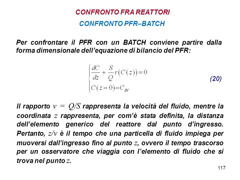 117 Per confrontare il PFR con un BATCH conviene partire dalla forma dimensionale dellequazione di bilancio del PFR: CONFRONTO PFR–BATCH Il rapporto v = Q/S rappresenta la velocità del fluido, mentre la coordinata z rappresenta, per comè stata definita, la distanza dellelemento generico del reattore dal punto dingresso.