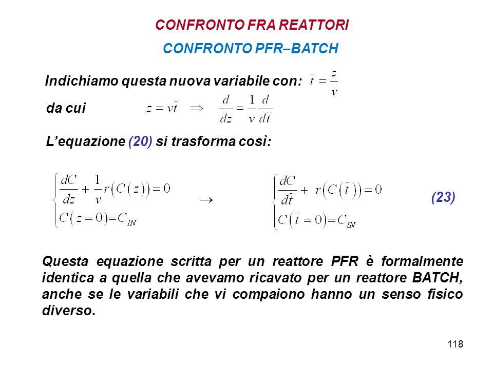 118 Lequazione (20) si trasforma così: Questa equazione scritta per un reattore PFR è formalmente identica a quella che avevamo ricavato per un reatto
