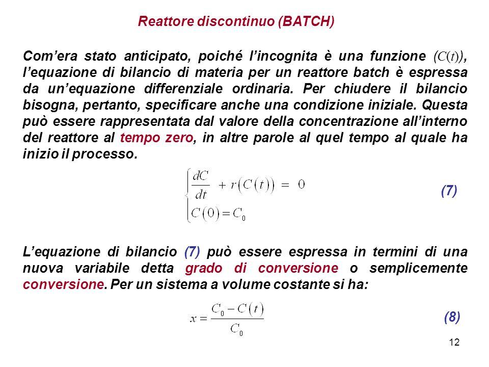 12 Reattore discontinuo (BATCH) Comera stato anticipato, poiché lincognita è una funzione ( C(t) ), lequazione di bilancio di materia per un reattore batch è espressa da unequazione differenziale ordinaria.
