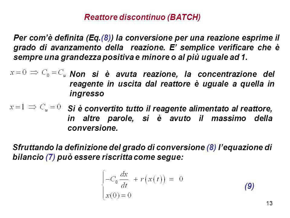13 Per comè definita (Eq.(8)) la conversione per una reazione esprime il grado di avanzamento della reazione. E semplice verificare che è sempre una g