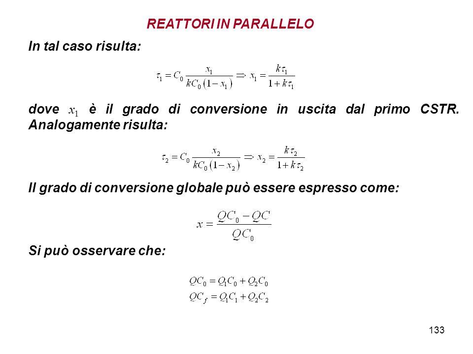 133 In tal caso risulta: dove x 1 è il grado di conversione in uscita dal primo CSTR. Analogamente risulta: Il grado di conversione globale può essere