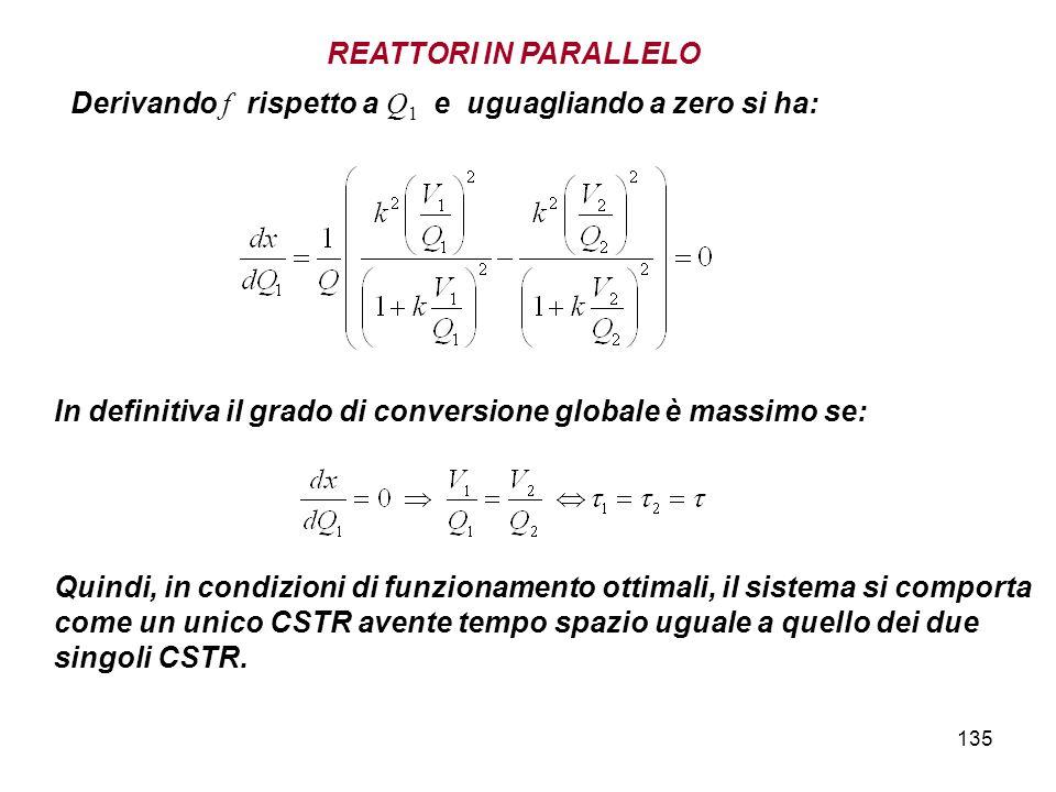 135 Derivando f rispetto a Q 1 e uguagliando a zero si ha: In definitiva il grado di conversione globale è massimo se: Quindi, in condizioni di funzionamento ottimali, il sistema si comporta come un unico CSTR avente tempo spazio uguale a quello dei due singoli CSTR.