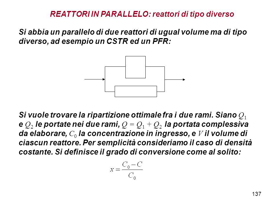 137 REATTORI IN PARALLELO: reattori di tipo diverso Si abbia un parallelo di due reattori di ugual volume ma di tipo diverso, ad esempio un CSTR ed un PFR: Si vuole trovare la ripartizione ottimale fra i due rami.