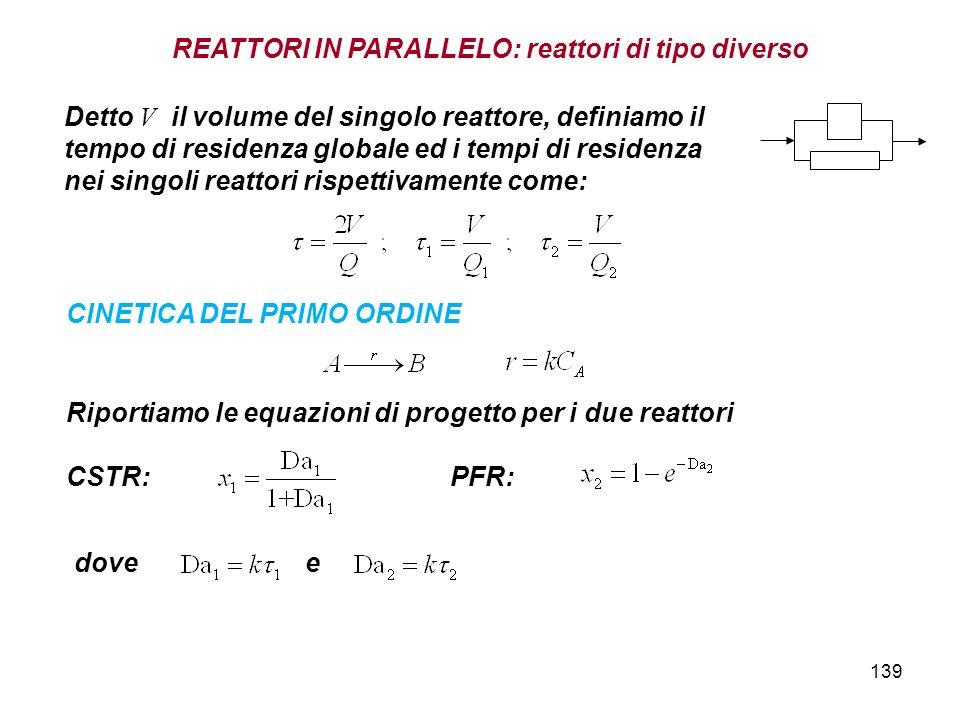 139 CINETICA DEL PRIMO ORDINE Riportiamo le equazioni di progetto per i due reattori CSTR: PFR: dove e Detto V il volume del singolo reattore, definia