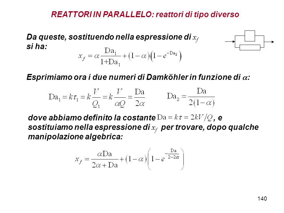 140 REATTORI IN PARALLELO: reattori di tipo diverso Da queste, sostituendo nella espressione di x f si ha: Esprimiamo ora i due numeri di Damköhler in funzione di : dove abbiamo definito la costante, e sostituiamo nella espressione di x f per trovare, dopo qualche manipolazione algebrica: