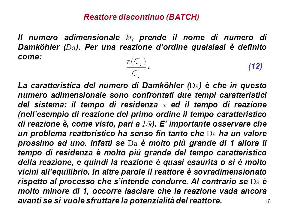 16 Reattore discontinuo (BATCH) Il numero adimensionale kt f prende il nome di numero di Damköhler ( Da ). Per una reazione dordine qualsiasi è defini