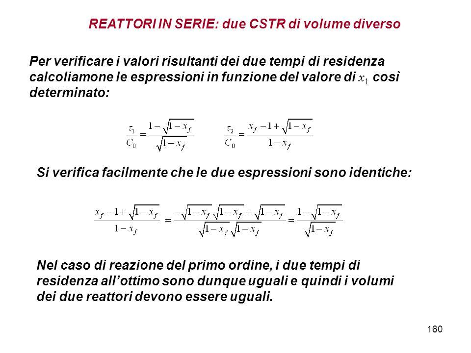 160 Si verifica facilmente che le due espressioni sono identiche: Per verificare i valori risultanti dei due tempi di residenza calcoliamone le espressioni in funzione del valore di x 1 così determinato: Nel caso di reazione del primo ordine, i due tempi di residenza allottimo sono dunque uguali e quindi i volumi dei due reattori devono essere uguali.