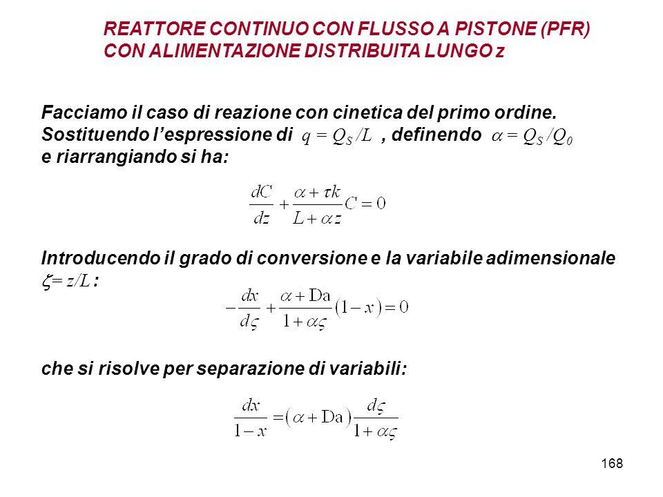 168 Facciamo il caso di reazione con cinetica del primo ordine. Sostituendo lespressione di q = Q S /L, definendo = Q S /Q 0 e riarrangiando si ha: RE