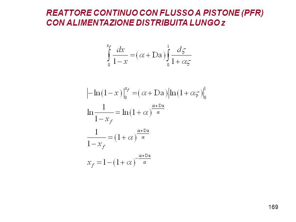 169 REATTORE CONTINUO CON FLUSSO A PISTONE (PFR) CON ALIMENTAZIONE DISTRIBUITA LUNGO z