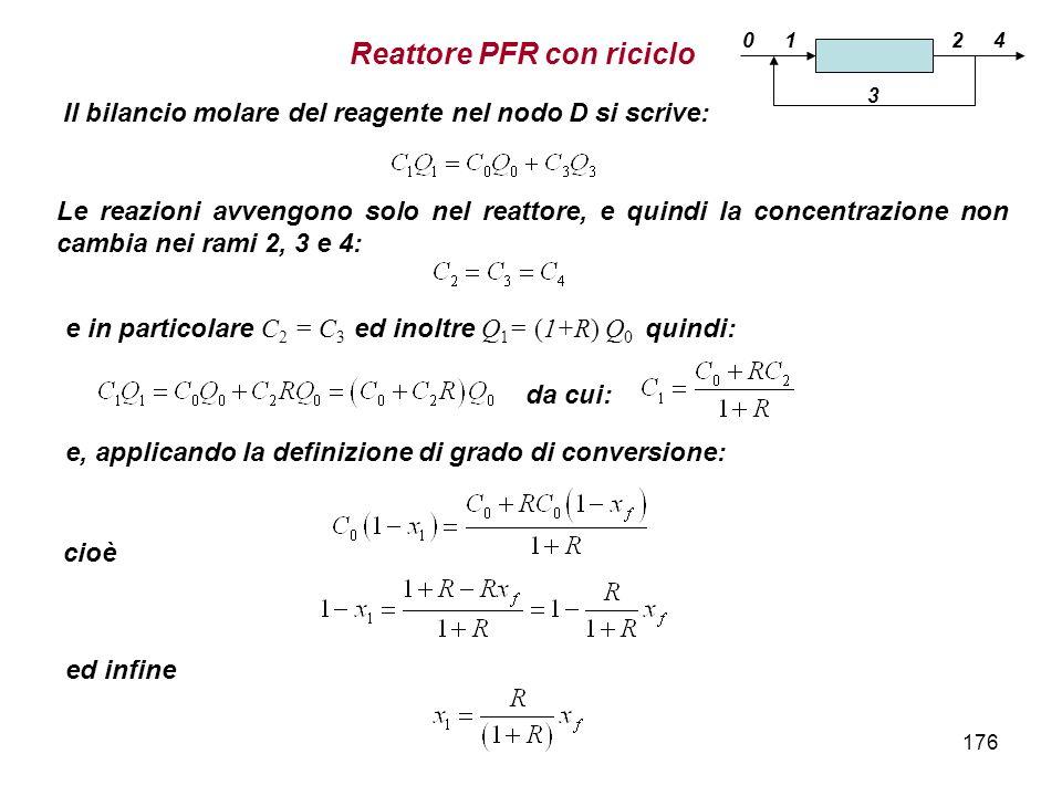 176 Il bilancio molare del reagente nel nodo D si scrive: cioè e, applicando la definizione di grado di conversione: e in particolare C 2 = C 3 ed ino