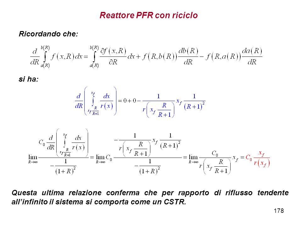 178 Ricordando che: si ha: Questa ultima relazione conferma che per rapporto di riflusso tendente allinfinito il sistema si comporta come un CSTR. Rea