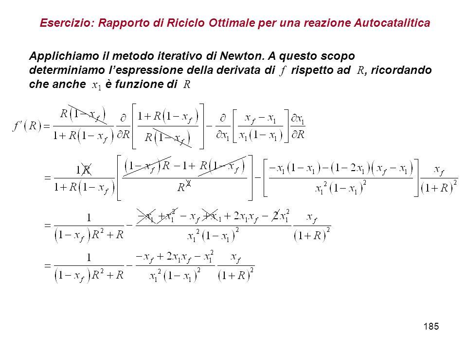 185 Esercizio: Rapporto di Riciclo Ottimale per una reazione Autocatalitica Applichiamo il metodo iterativo di Newton.
