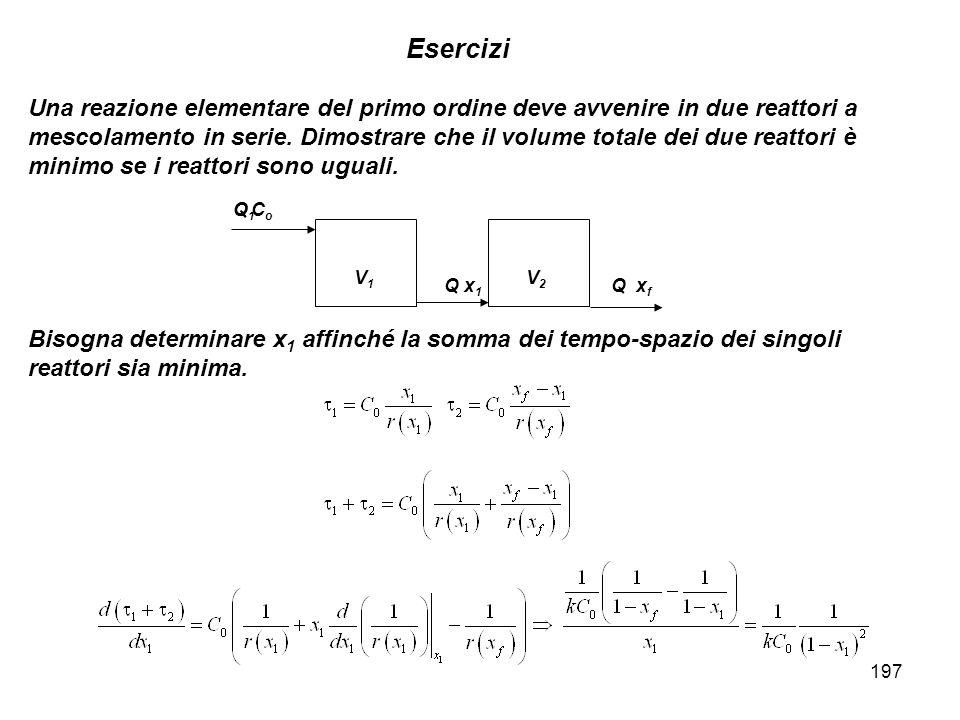 197 Esercizi Una reazione elementare del primo ordine deve avvenire in due reattori a mescolamento in serie. Dimostrare che il volume totale dei due r