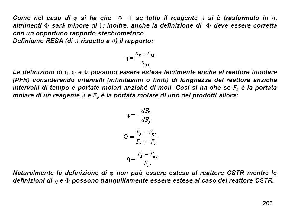 203 Come nel caso di si ha che =1 se tutto il reagente A si è trasformato in B, altrimenti sarà minore di 1 ; inoltre, anche la definizione di deve essere corretta con un opportuno rapporto stechiometrico.