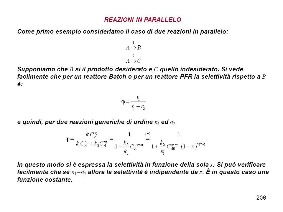 206 REAZIONI IN PARALLELO Come primo esempio consideriamo il caso di due reazioni in parallelo: Supponiamo che B si il prodotto desiderato e C quello