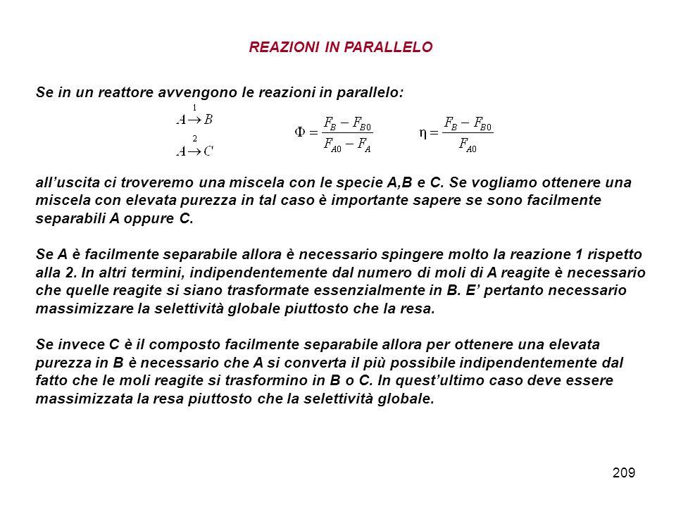 209 REAZIONI IN PARALLELO Se in un reattore avvengono le reazioni in parallelo: alluscita ci troveremo una miscela con le specie A,B e C. Se vogliamo