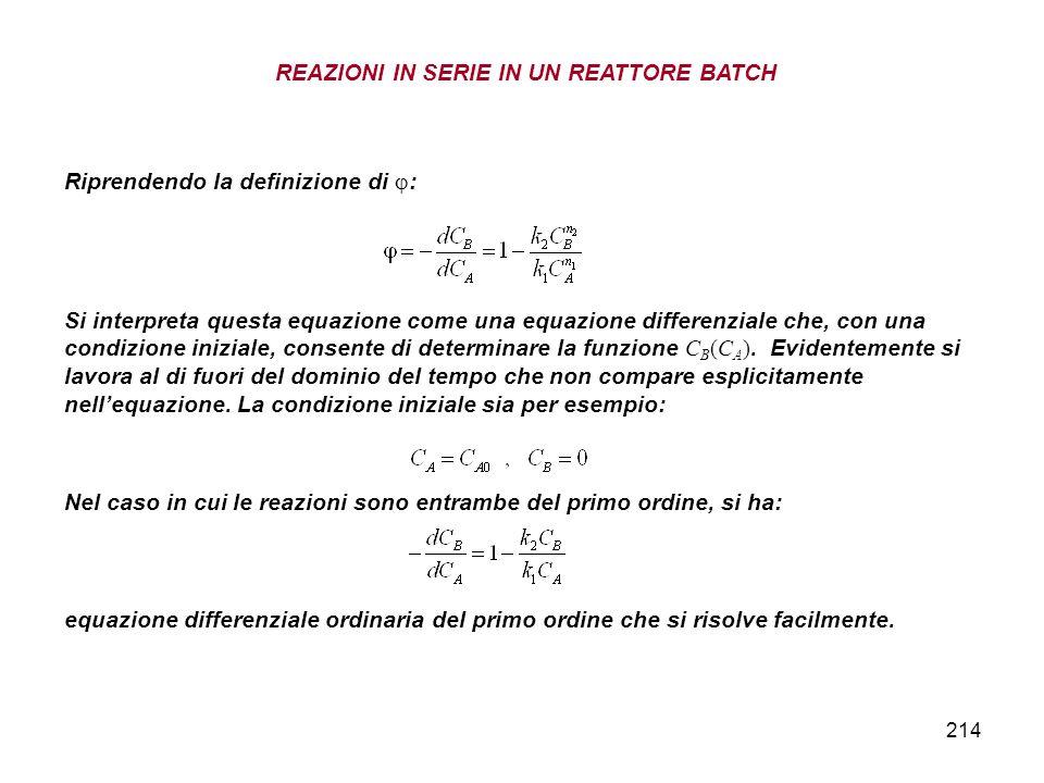 214 Riprendendo la definizione di : Si interpreta questa equazione come una equazione differenziale che, con una condizione iniziale, consente di determinare la funzione C B (C A ).
