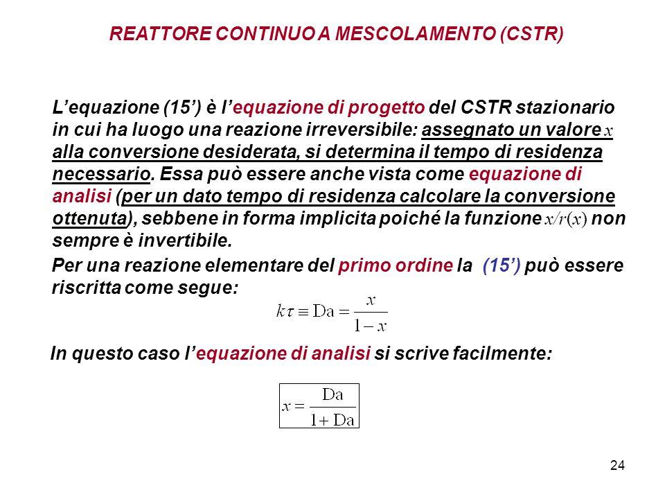 24 REATTORE CONTINUO A MESCOLAMENTO (CSTR) Per una reazione elementare del primo ordine la (15) può essere riscritta come segue: Lequazione (15) è lequazione di progetto del CSTR stazionario in cui ha luogo una reazione irreversibile: assegnato un valore x alla conversione desiderata, si determina il tempo di residenza necessario.
