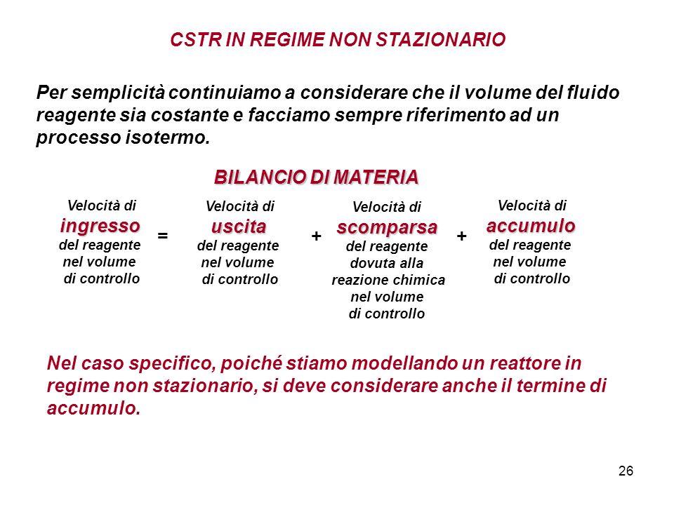 26 CSTR IN REGIME NON STAZIONARIO Per semplicità continuiamo a considerare che il volume del fluido reagente sia costante e facciamo sempre riferimento ad un processo isotermo.